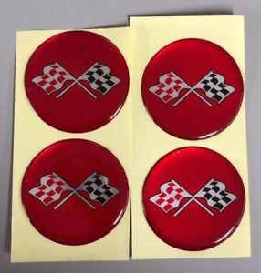 CORVETTE STYLE RED CROSSED FLAG Wheel Hub Center Cap STICKER DECAL 44mm Set