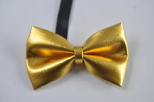 Kids Boy Solid Bright Gold Faux Leather Bowtie Bow Tie 1 to 6 Years Old Wedding
