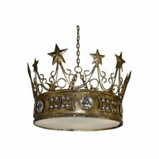 Gold Leaf Star Crown Chandelier Light Pendant Jewels Prince Princess King Queen