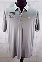 New Travis Mathew Mens Golf Polo Shirt Gray Players Special Corp. Logos Sz L