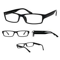 b7cd7fa362 Mens 90s Classic Narrow Rectangular Black Plastic Rim Dad Eye Glasses
