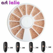 Rose Gold Mixed Size Nail Art Caviar Metal Beads Glitter Tips UV Gel Decoration
