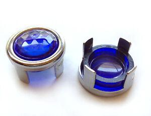 Dodge Blue Dot Tail Light Bulb Lamp Lenses Hot Rod Chrome Bezel Rings 1157 NOS