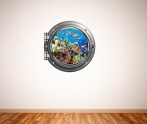 Tropical fish coral reef underwater scene porthole wall sticker 017