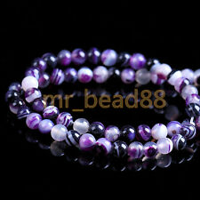 50Pcs Round Purple Natural Agate Gemstone Beads Loose Spacer Beads DIY 6mm