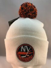 NY ISLANDERS WHITE CUFFED KNIT BEANIE WINTER HAT 2 TONE POM TOP BY REEBOK