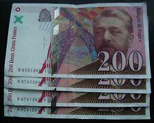 (SUITE X4) 200 Francs Eiffel 1999 NUMEROS CONSECUTIFS