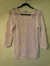 Coldwater Creek women size s (8) top long sleeve crochet white