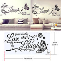 Live Laugh Love Quotes Butterfly Art Wall Stickers Home Room Decal Room Decor