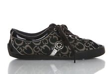 GUESS Sneaker Size 7 Black Patent Leather Lace Up Monogram Silver Logo Shoes