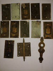 c1890 Victorian Mansion Size Brass Door Hinge PLATES ONLY Sailing Ship lot of 11