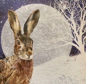 CHARITY CHRISTMAS CARD 'Christmas Hare' ~ Snowing ~ Moon Hare ~ SINGLE CARD