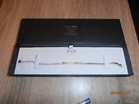 BNIB 925 Silver Authentic Pandora Gold Plated 3 Cubic Zirconia PAN Bracelet