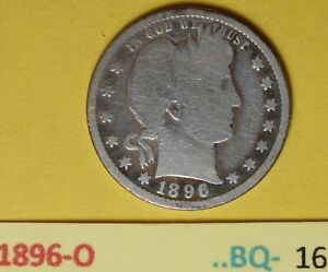 1896-O  US Barber Quarters in Good condition...see Photos
