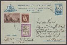 """San Marino, intero postale, 4 lire con affranc supplementare per Milano- 1589 """"2"""