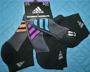 Adidas Women's 3 Pair Superlite Socks Black w/ Blue, Purple, Orange Stripes NEW