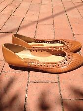 Vintage Sutton Plaza Cut Out Braided Brown Leather Shoes Flats Size 10 Brazil