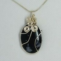 Snowflake Obsidian Silver Wire Wrap Necklace – Chakra Healing Stone Pendant