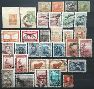Argentina BOB Stamp Collection w/ Air Mail, Officials, Cut Squares Lot of 32