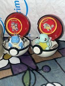 Vintage Rare Pokemon Mini Poke Ball w Blastoise & Squirtle Keychains w Cards