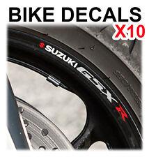 10x SUZUKI GSXR Da Moto Bici Ruota Adesivi Decalcomanie NASTRO cerchioni