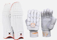 Fireox Cricket Bundle Set + Batting Gloves & Pads - Orange - Adult