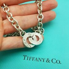 """Tiffany & Co. 1837 Sterling Silver Circle Clasp Toggle 17"""" Necklace, UK Hallmark"""
