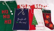 Christmas Stockings & Sacks - Ho Ho Ho, Jingle All the Way, Tree, Flowers, Lot
