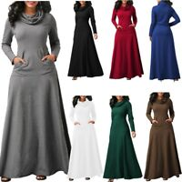 Womens Casual Pocket Cowl Neck Long Sleeve Swing Fit Maxi Dress Plus Size Lot