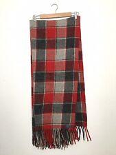 Vintage Pendleton Wool Plaid Fringe Blanket Red And Grey