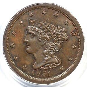 1851 C-1 PCGS MS 62 BN Braided Hair Half Cent Coin 1/2c
