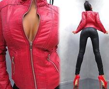 2017 LEDER OPTIK RED LEATHER LOOK Damen SEXY Jacke Mantel Q42 Blazer Coat XXL