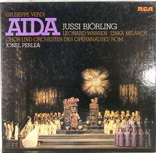 VERDI AIDA JUSSI BJÖRLING LEONARD WARREN MILANOV JONEL PERLEA 3-LP BOX (c405)