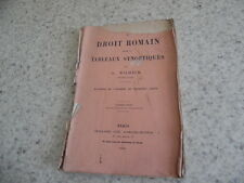 1881.Le droit romain en tableaux synoptiques.Wilhelm