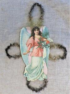 "ANTIQUE 1880s  XL 15"" ANGEL Nativity SCRAP Die Cut TINSEL Christmas ORNAMENT #2"