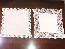 Vintage Set Of Two White Cotton Lace Trimmed Hans Made Hankies N Other