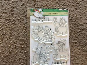 PENNY BLACK RUBBER STAMPS CLEAR ARTIC ANTICS HOLIDAY NEW clear STAMP SET