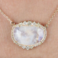 Solid 14k Yellow Gold Pave Diamond Moonstone Pendant Necklace CHRISTMAS Jewelry