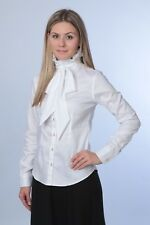 Ladies white shirt, blouse w/ ruffle & bow collar long sleeve,buttons  size XS