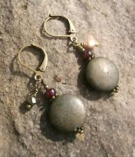 Natural Pyrite Coin, Raspberry Garnet & Bronze Leverback Earrings Sundance Arti