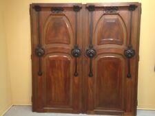 Pair of Art Nouveau Style Custom Walnut & Steel Door Panels One of a Kind
