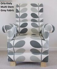Multi Stem Grey Orla Kiely Fabric Adult Armchair Chair Retro Leaves Designer
