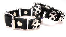 Bracelet en Cuir/ -Cuir Véritable -Croix -Schnallen Obturateur - Noir -