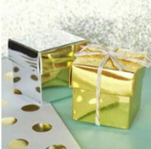 12 Silver or Gold Metallic Wedding or Anniversary Favor Candy Boxes Favors