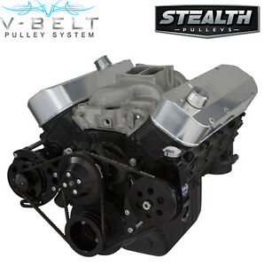 Black Big Block Chevy Long Water Pump V-Belt Kit Power Steering BBC 454 396