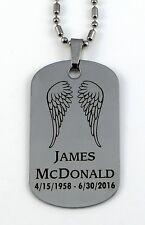 Angel Wings Memorial Tag - Free Custom Engraving