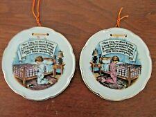 "2 Vintage Child's Bedtime Prayer 4"" Wall Plaque Plates Boy & Girl Sanmyro Japan"
