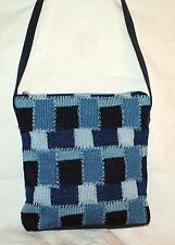 The SAK Bag Crochet Blue Patchwork Shoulder Bag Style Easy Carry Soft Purse