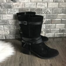 Bandolino Ursal Biker Boot Black Suede Leather Strappy Mid Calf Size 9