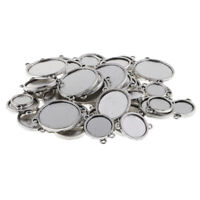 48x Double Sided Charms Bezel Pendant Settings Tray with Double Bail 12-25mm